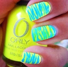 One nail on each hand like this and the rest a solid color would be cute