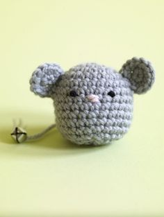 Amigurumi Mouse Cat Toy. This is so cute. I suggest removing the bell on the tail and just making a knot instead so little kittys don't swallow it. Fill it with cat nip as well.