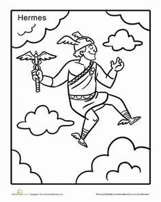 Second Grade Coloring Worksheets: Greek God Hermes Coloring Page