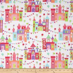 Michael Miller Princess Charming Castle Town Brite from @fabricdotcom Designed for Michael Miller, this cotton print fabric is perfect for quilting, apparel and home decor accents. Colors include shades of pink, green, purple, blue, peach, and white.