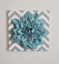 Wall Flower Dusty Blue Dahlia on Gray and White by bedbuggs