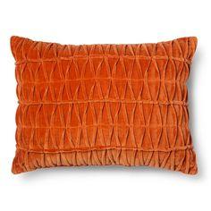 Threshold™ Ruched Velvet Decorative Lumbar Pillow - Red (Square)