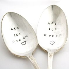 Wedding gift idea - His Ice Cream and Her Ice Cream Spoon set by MilkandHoneyLuxuries, claradeparis.com ♥