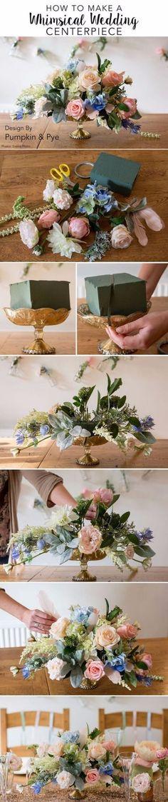 Arreglos florales para una boda vintage. Armate de esponjas, eucaliptos y flores y sigue las instrucciones.