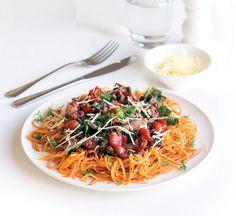 Sweet potato 'spaghetti' with tuna Sweet Potato Recipes Healthy, Healthy Recipes, Healthy Food, Shellfish Recipes, Seafood Recipes, Tuna Pasta, Good Enough To Eat, Fish And Seafood, A Food