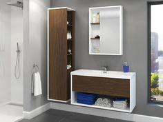 Collection Obe - Express - Contemporary - Vanico Maronyx 30 Vanity, Single Sink Vanity, Vanity Units, Wall Hung Bathroom Vanities, Bath Vanities, Small Bathroom, Bathroom Ideas, Corner Tub Shower Combo, Linen Storage Cabinet