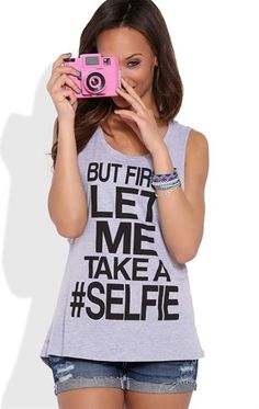 Deb Shops Double Twist Back Tank Top with Let Me Take a Selfie Screen $8.00