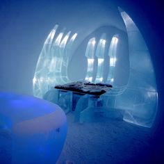 One of the most beautiful and weirdest places to be in, Ice Hotel, Sweden~ is massive hotel ,entirely made up of ice and snow and it is only open in winter