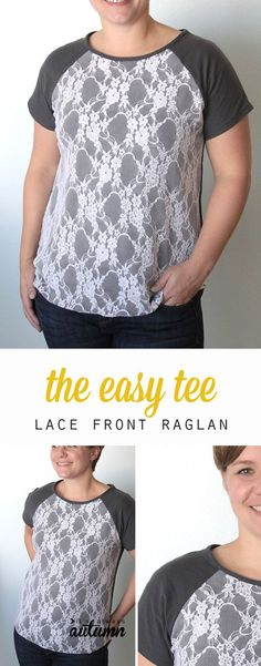 Free pattern and sewing tutorial for this pretty lace front raglan tee for women.