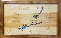 Lake Powell in Utah and Arizona - Wood Laser Cut Map Laser Cut Wood, Laser Cutting, Lake Powell Utah, Glen Canyon Dam, Lake Mead, Colorado River, Rainbow Bridge, Laser Engraving, Arizona