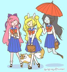 adventure time princesses as sailor scouts | Adventure Time Marceline Princess Bubblegum cake crossover sailor moon ...