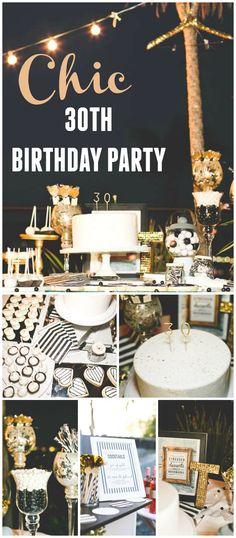 Fiesta de 30 cumpleaños decorada con rayas negras y blancas y detalles dorados. at CatchMyParty.com!