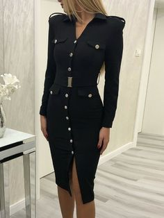Single Breasted Slit Bodycon Dress Women's Best Online Shopping - Offering Huge Discounts on Dresses, Lingerie , Jumpsuits , Swimwear, Tops and More. Slit Dress, Blazer Dress, Bodycon Dress, Wrap Dress, Tweed Dress, Classy Dress, Classy Outfits, Dress Casual, Formal Dress