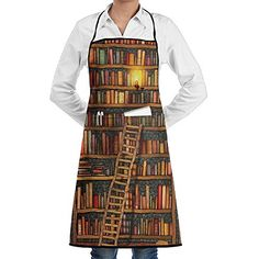 Unisex Kitchen Aprons Vintage Library Bookshelf Chef Apron Cooking Apron Barbecue Aprons #Unisex #Kitchen #Aprons #Vintage #Library #Bookshelf #Chef #Apron #Cooking #Barbecue