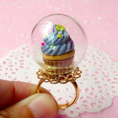 Glass Globe Bottle (24mm) with Gold Plated Lace Adjustable Ring (1 Set) Miniature Glass Dome Glass Bubble Filigree Ring F046