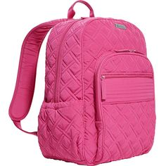 Vera Bradley Campus Backpack - Solid Backpack ($138) ❤ liked on Polyvore featuring bags, backpacks, pink, school & day hiking backpacks, knapsack bags, padded bag, padded backpack, day pack backpack and strap bag