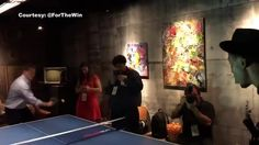 Brandon Marshall. Commissioner Roger Goodell.   1-on-1 in a game of ping-pong