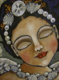 Mermaid Angel ~ by Jane Campbell, Folk Art Picture