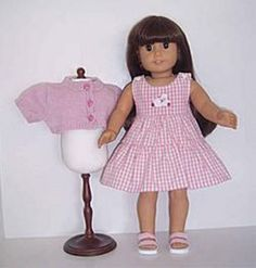 "Pink Sweater & Plaid Dress Set made for 18"" American Girl Doll Clothes #DorisDollBoutique #DollClothes"