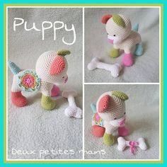 PDF knitting Pattern, pattern, tutorial, Puppy in French and English Tutorial Amigurumi, Crochet Amigurumi Free Patterns, Knitting Patterns, Cute Crochet, Crochet For Kids, Crochet Hats, Junk Mail, Dog Pattern, Etsy