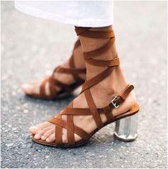 Strappy Miu Miu suede sandals.