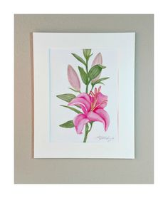 Asiatic Lilly Watercolor Painting Pinks And Greens Ready To Frame Matting (35.00 USD) by SunberryCreations