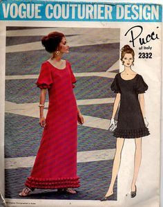 Vogue Couturier Design 2332 Sewing Pattern 70s Pucci Cocktail Dress Evening Gown A-line Box Pleats Blouson Sleeves High Fashion Bust 32