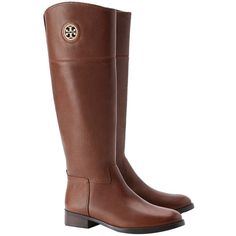 Pre-owned Tory Burch Junction Riding - Brown Boots (7,155 EGP) ❤ liked on Polyvore featuring shoes, boots, brown, calçados, knee high leather riding boots, genuine leather riding boots, cut out boots, equestrian riding boots and equestrian boots
