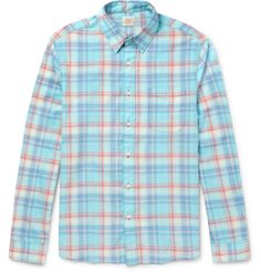 Faherty is inspired by the laid-back feel of surf towns. This casual shirt is cut from soft cotton in a comfortable regular fit, and is patterned in a tonal-blue and coral check. Wear it over simple tees on off-duty days.