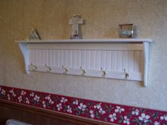 "Country Coat Rack Wall Shelf White 48"" Long. $78.38, via Etsy."