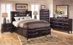 kira bedroom set. details of bed $1,115 to sell for from $800-1000 with its sculptural details, the kira full storage bed carves out contemporary style in a fresh, new way. bathed in a sleek, dark finish, it simply exudes sophistication. bookcase headboard design keeps the look decidedly open and airy. the built-in drawers are convenient and wonderfully space saving. mattress s