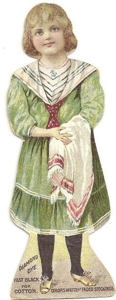 1890 Stand Up Die Cut Trade Card Diamond Dye Paper Doll Burlington VT   eBay