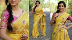 Butter Gold Uppada tissue super soft easy draping sari comes with kundan embellished work all over paired with a mauve blouse unstitched Price 9500 Rs To buy this sari mail to varunigopen@gmail.com whatsapp 9849125889 Delivery within 7 to 10 days
