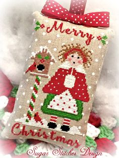 Lil' Miss Merry Christmas Ornament PDF by SugarStitchesDesign