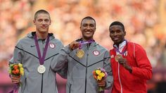 Medallist pose during the men's Decathalon Victory Ceremony -  Silver medalist Trey Hardee of the United States, gold medalist Ashton Eaton of the United States and bronze medalist Leonel Suarez of Cuba pose on the podium during theVictory Ceremonyfor the men's Decathlon on Day 14.