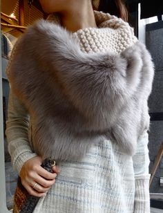 Gushlow & Cole hand knit snood with shearling trim