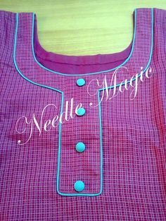How to make different types of kurthi neck patterns Courtesy: Needle Magic Kurtis have become a very integral outfit it Indian fashion industry. Chudithar Neck Designs, Chudidhar Designs, Neckline Designs, Dress Neck Designs, Collar Designs, Designs For Dresses, Churidar Pattern, Salwar Neck Patterns, Neck Patterns For Kurtis