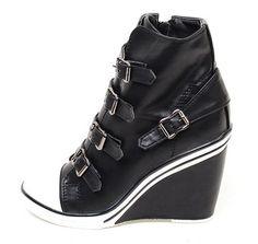 Women Wedge High Heel High Top Sneakers Tennis Shoes Ankle Boots Black 8027de9769b6