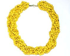 Colar 7 voltas de açaí Amarelo- Colares de Sementes