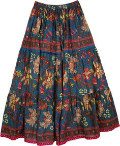 """TLB - Spring Floral Print Cotton Full Skirt - L: 38"""" ; W: 26""""-36"""" at Amazon Women's Clothing store:"""