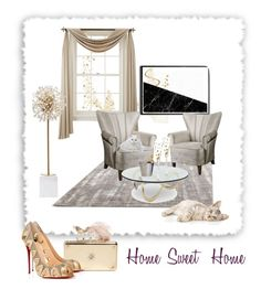 """""""Home Sweet Home """" by sylviega ❤ liked on Polyvore featuring Liz Claiborne, Uttermost, Kate Spade, AERIN, Dot & Bo, Alexander McQueen, Christian Louboutin, women's clothing, women's fashion and women"""