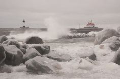 Waves off of Lake Superior crash onto the shore in Duluth's Canal Park on Sunday, Feb. 20, 2011. Wind gusts reached 45 MPH, the National Weather Service reported, but little snow fell in the Twin Ports region.