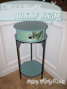 Decoupage & Annie Sloan Chalk Paint...fun little project! - I found 3 tables last year at a garage sale for $20. They were graduated in size. This is the larges…
