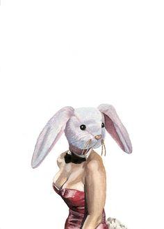 Playboy Bunny  Watercolor Print  Beanie Babies 5x7 $20