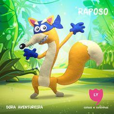 """Raposo (Swiper) é o antagonista da série e aparece em quase todos os episódios. Raposo só rouba ou tenta roubar itens-chave que ajudam Dora em suas aventuras. Para evitar que Raposo pegue suas coisas, Dora deve dizer a frase: """"Raposo, não pegue!"""".Apesar de roubar objetos de Dora, ele demonstra que quer ser amigo dela e sempre tenta ajudá-la assim como ela faz com os outros amigos. #raposo #doraaventureira #festainfantil #decoracaofesta #swiper #doratheexplorer #felt #handmade"""