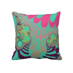 Customizable Teal Tikki Mod Pillow. Check this product out at www.zazzle.com/wonderart*