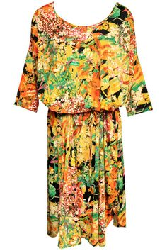 Yellow And Orange Floral Dress. Description Yellow and orange dress, featuring a round neck, drawstring waist and middle sleeves styling, yellow and orange floral print throughout. Fabric Cotton;Polyester Washing Cool hand wash with similar colours, cool iron, dry flat, do not tumble dry, do not bleach. #Romwe