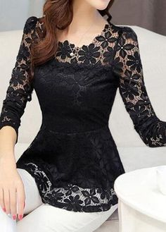 Black Long Sleeve Peplum Waist Lace Blouse, flower lace tops for fall, high qual… Black Plaid Shirt, Black Lace Blouse, Casual Tops For Women, Blouses For Women, Turtle Shirts, Spring Blouses, Lace Tops, Lace Blouses, Look Cool