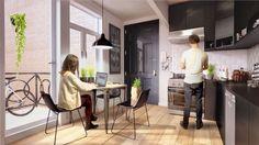 Architekturvisualisierung Stuttgart interior kitchen loft shared living quaters render