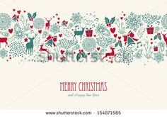 Vintage Christmas elements, reindeer with text seamless pattern background. EPS10 vector file organized in layers for easy editing. - stock vector